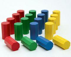 PAC-OCT-RVBJ-15X30 Pack de 20 octogones Ø15 x 30mm en bois, Rouge, Vert, Bleu, Jaune