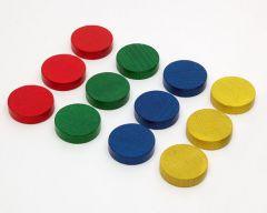 PAC-PAL-RVBJ-D40 Pack de 12 palets Ø52mm en bois, Rouge, Vert, Bleu, Jaune