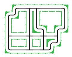 Pack de 16 pièces - croisement et intersection taille L 180 x 180mm