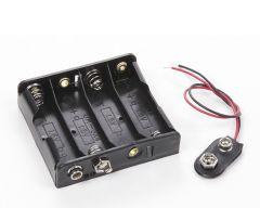 Coupleur 4 piles AA contact pression + coupleur sortie fils + vis